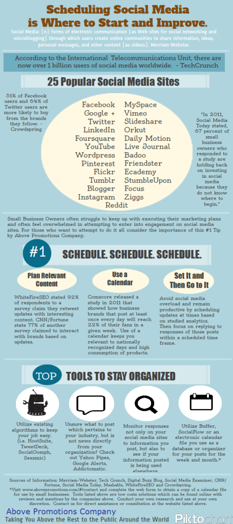 Scheduling Social Media Infographic 2012. Above Promotions Company.