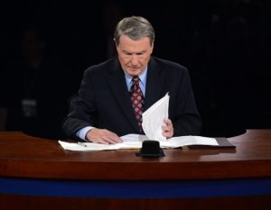 Jim Lehrer Moderator for October 3, 2012 Presidential Debate. Photo By Pool-Michael Reynolds/AP. Above Promotions Company, Tampa, FL. 2012