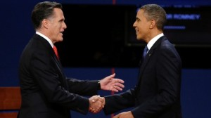 Presidential Debate 2012. Candidate Mitt Romney and President Barack Obama shake hands at the first debate. Image credit: Charlie Neibergall/AP Photo. Above Promotions Company. Tampa, FL. 2012
