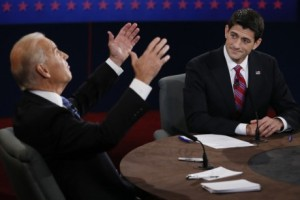 Vice President Joe Biden's animated display. VP Debate with Congressman Paul Ryan. Image courtesy of AP/Rick Wilkins. Above Promotions Company