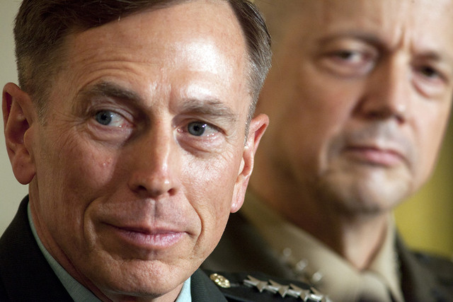 General Petraeus and General Allen. Center of Public Investigation. Photo Courtesy of Brendan Hoffman and Bloomberg. Above Promotions Company. Tampa FL 2012