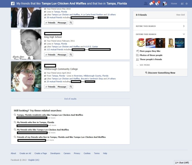 Facebook Graph Search results view. Above Promotions Company. Tampa FL 2013