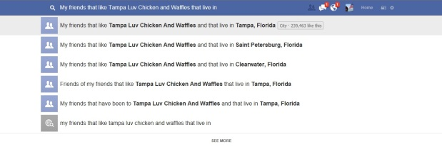 Facebook Graph Search provides detailed search data for personal use as well. Above Promotions Company. Tampa, FL 2013.