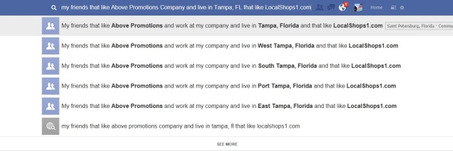 Facebook Graph Search provides business owners with detailed information on their business associates. Opportunity for lead generation or collaborations. Above Promotions Company. Tampa, FL 2013.