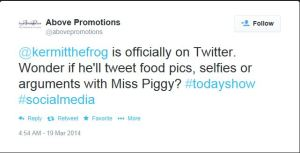 AP Tweets Kermit the Frog Muppets on Twitter Above Promotions Company